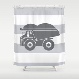 Grey on Grey Dump Truck Shower Curtain