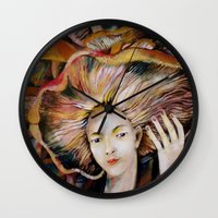 hat Wall Clocks featuring hat by Eva Lesko