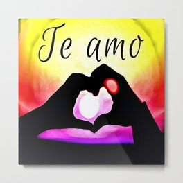 Te amo in Pop-art Metal Print