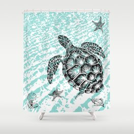 Sea turtle print in black and white Shower Curtain