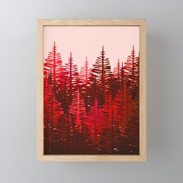 Pine Forest - Red and Pink Framed Mini Art Print