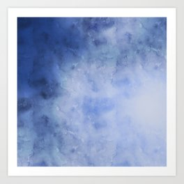 Blue and White Marbled Watercolor Art Print