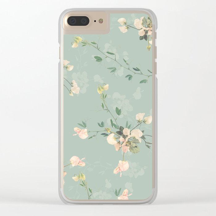 Sweet pea botanical pattern in green Clear iPhone Case