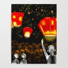 Freedom and rememberance,Lanterns,Illustrations,Sky Art Poster