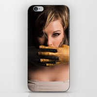 black and gold iPhone & iPod Skins featuring Black & Gold by Levi Price