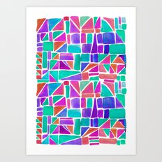 Watercolour Shapes Art Print