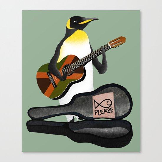 Penguin Busking Canvas Print