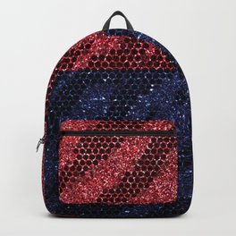Glitter Red & Blue Zebra  Backpack
