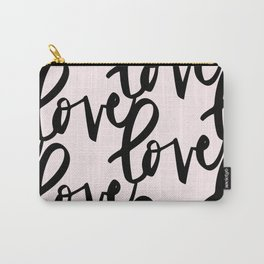Pink and Black Love pattern perfect for valentine's Carry-All Pouch