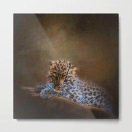 Cute painting amur leopard cub Metal Print