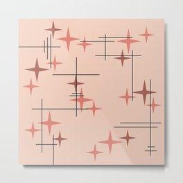 Mid Century Modern Stars Salmon Pink Metal Print