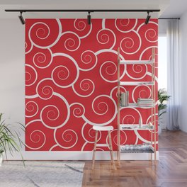 Spiral Waves (Red) Wall Mural