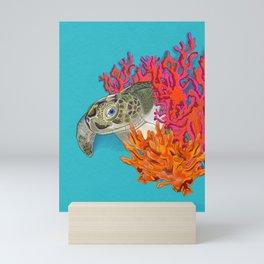 Sea turtle in Coral Mini Art Print