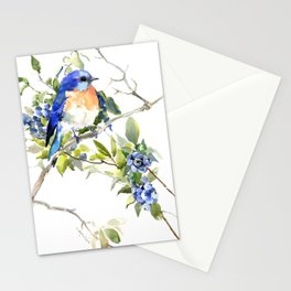 Bluebird and Blueberry Stationery Cards
