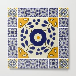 Talavera Mexican tile inspired bold design in blue and yellow Metal Print