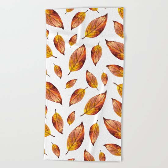 Autumn Leaves Pattern 03 Beach Towel
