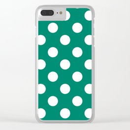 Generic viridian - green - White Polka Dots - Pois Pattern Clear iPhone Case