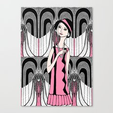 Art deco lady (black and white) Canvas Print