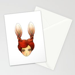 the girl with rabbit hair Stationery Cards