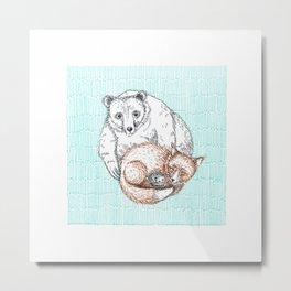 Cozy bear, fox and hedgehog Metal Print