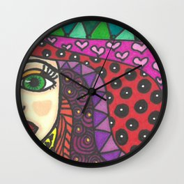Color Zentangle Girl Wall Clock