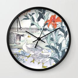 Couple Of Ducks And Tiger Lilies - Antique Japanese Woodcut Print Art By Kono Bairei, 1883. Wall Clock