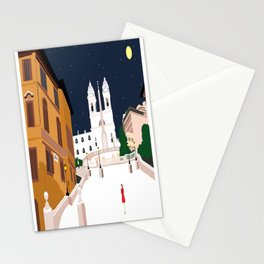 Spanish Steps in Snowy Rome Stationery Cards