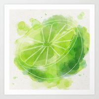 lime green Art Prints featuring Lime by Ashley Stone