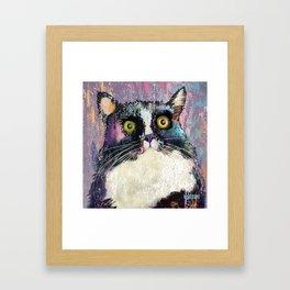 Big eyed tuxedo cat Framed Art Print