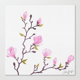 Pink watercolor magnolia pattern Canvas Print