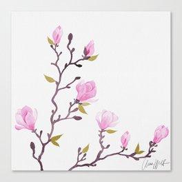 Pink watercolor magnolia pattern Canvas Print