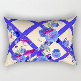 BLUE MORNING GLORIES & BLUE-CREAM LATTICE  DESIGN Rectangular Pillow