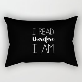 i read therefore i am // black Rectangular Pillow