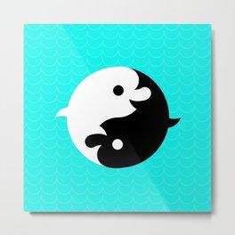 Yin Yang Dolphins Metal Print