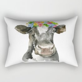 Black and White Cow with Floral Crown Watercolor Painting Rectangular Pillow