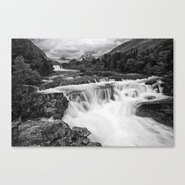 Mountain Paradise in Black and White Canvas Print
