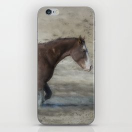 Mustang Getting Out of a Muddy Waterhole the Slow Way painterly iPhone Skin