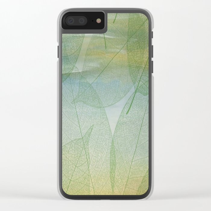 Delicate Painterly Leaves Clear iPhone Case