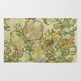 "Alphonse Mucha ""Printed textile design with hollyhocks in foreground"" Rug"