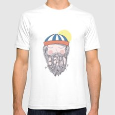 BEARD SMALL White Mens Fitted Tee