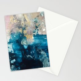 Timeless: A gorgeous, abstract mixed media piece in blue, pink, and gold by Alyssa Hamilton Art Stationery Cards