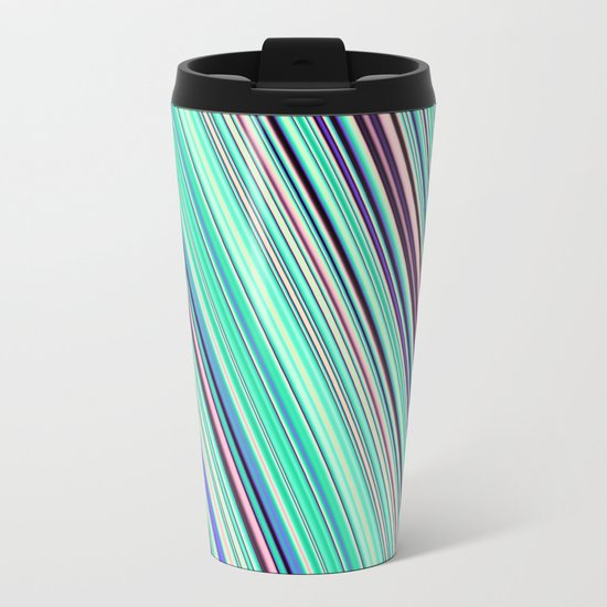 Diagonal  summer stripes Metal Travel Mug