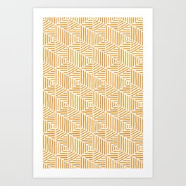 Geo Triangles - Orange Stripe Art Print