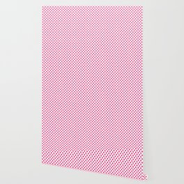 Small Hot Neon Pink Crosses on White Wallpaper