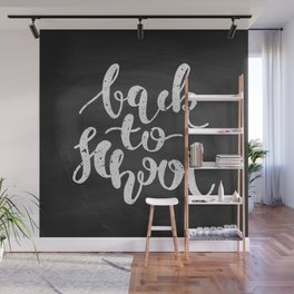 Back to School Chalkboard Calligraphy Wall Mural