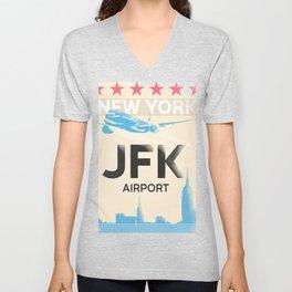 JFK stylish airport code Unisex V-Neck