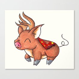 Reindeer Piggy Canvas Print