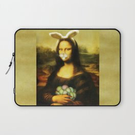 Easter Mona Lisa with Whiskers and Bunny Ears Laptop Sleeve