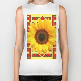 WESTERN RED ART DECO YELLOW SUNFLOWER ART Biker Tank