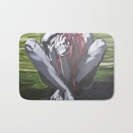 Oil paint on canvas painting of a nude red haired women clutching her hair in the fetal position Bath Mat